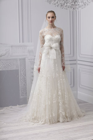Wedding Dresses, Illusion Neckline Wedding Dresses, A-line Wedding Dresses, Lace Wedding Dresses, Romantic Wedding Dresses, Vintage Wedding Dresses, Fashion, Spring Weddings, Vintage Weddings, Monique lhuillier, Wedding Dresses with Sleeves