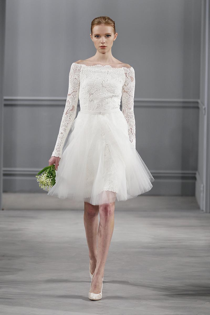 Wedding Dresses, Lace Wedding Dresses, Vintage Wedding Dresses, Fashion, white, City Weddings, Vintage Weddings, Monique lhuillier, Wedding Dresses with Sleeves, Off the Shoulder Wedding Dresses, Short Wedding Dresses