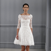 Wedding Dresses, Illusion Neckline Wedding Dresses, Lace Wedding Dresses, Vintage Wedding Dresses, Fashion, white, Vintage Weddings, Monique lhuillier, Wedding Dresses with Sleeves, Short Wedding Dresses