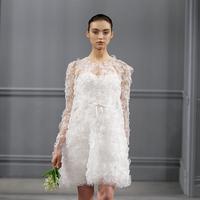 Wedding Dresses, Illusion Neckline Wedding Dresses, Vintage Wedding Dresses, Fashion, white, Modern Weddings, Vintage Weddings, Monique lhuillier, Wedding Dresses with Sleeves, Short Wedding Dresses