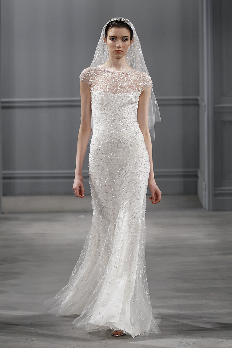 Wedding Dresses, Illusion Neckline Wedding Dresses, Mermaid Wedding Dresses, Hollywood Glam Wedding Dresses, Fashion, white, Fall Weddings, Winter Weddings, Glam Weddings, Monique lhuillier