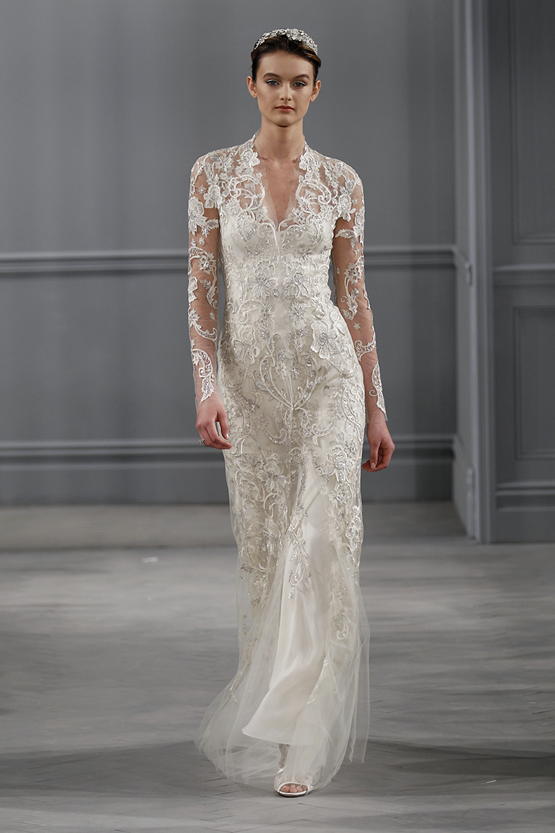 Wedding Dresses, Vintage Wedding Dresses, Hollywood Glam Wedding Dresses, Fashion, silver, Glam Weddings, Vintage Weddings, V-neck Wedding Dresses, Monique lhuillier, Wedding Dresses with Sleeves