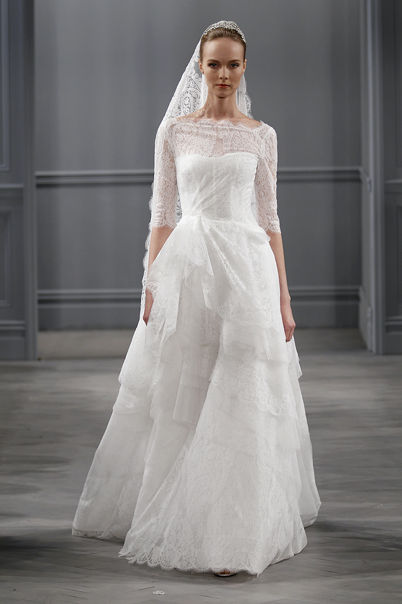 Wedding Dresses, Illusion Neckline Wedding Dresses, A-line Wedding Dresses, Lace Wedding Dresses, Fashion, white, Monique lhuillier, Wedding Dresses with Sleeves