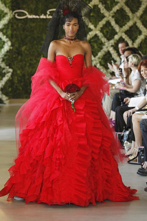 Wedding Dresses, Sweetheart Wedding Dresses, Ball Gown Wedding Dresses, Ruffled Wedding Dresses, Fashion, red, Oscar de la renta