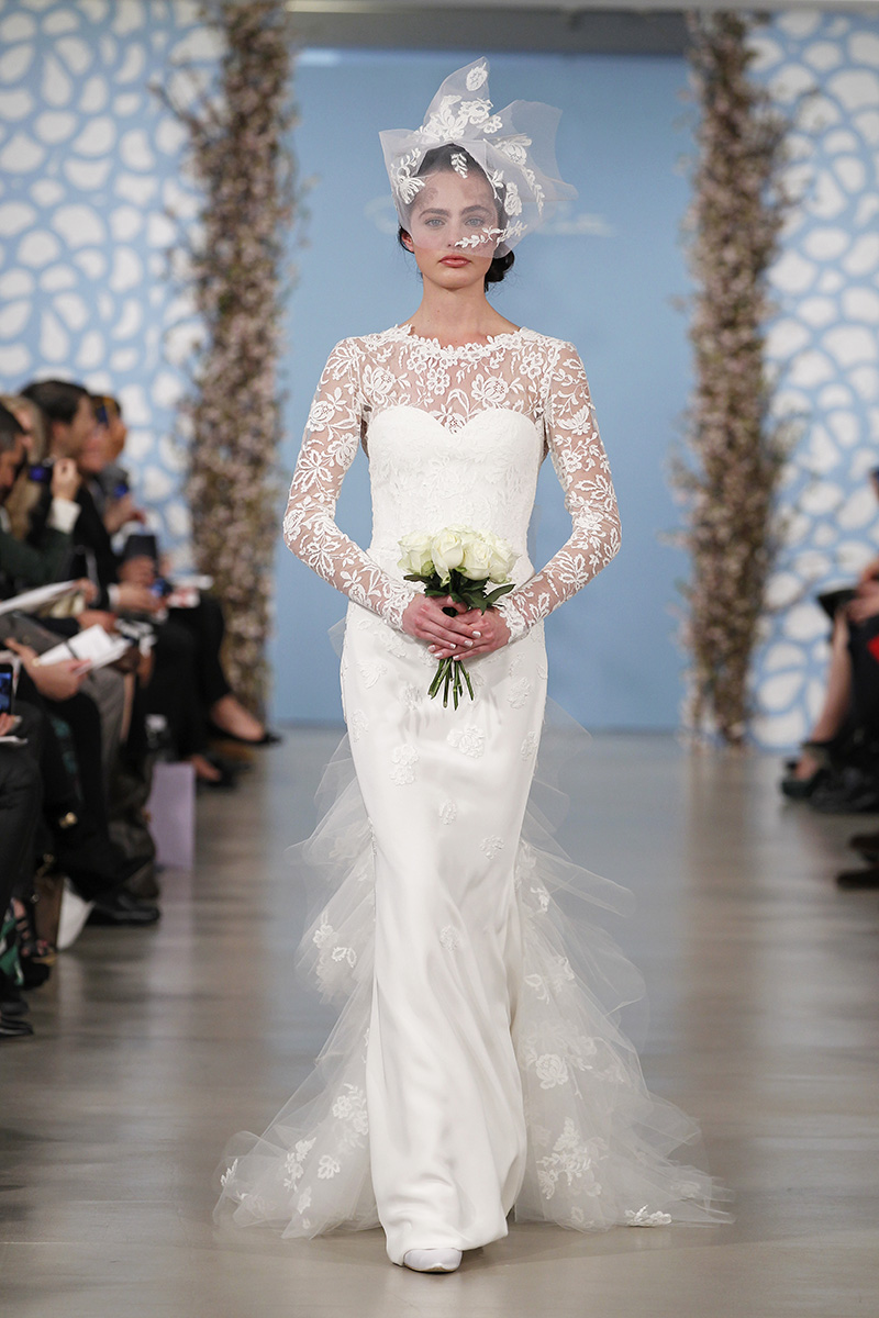 Wedding Dresses, Illusion Neckline Wedding Dresses, Mermaid Wedding Dresses, Ruffled Wedding Dresses, Lace Wedding Dresses, Romantic Wedding Dresses, Vintage Wedding Dresses, Fashion, white, Classic Weddings, Oscar de la renta, Wedding Dresses with Sleeves