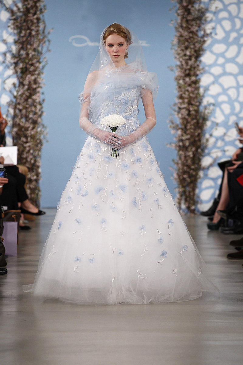 Wedding Dresses, One-Shoulder Wedding Dresses, A-line Wedding Dresses, Fashion, blue, Modern Weddings, Oscar de la renta