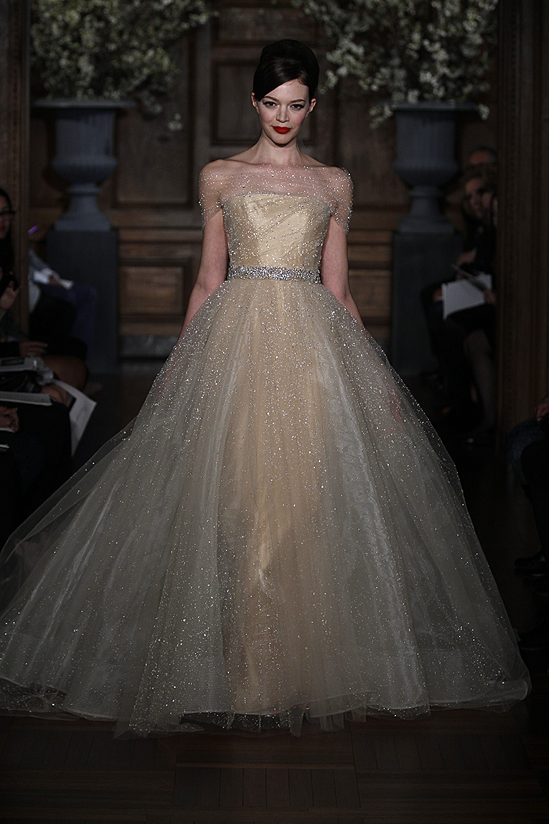 Gown by romona keveza collection spring 2014 a glittery for Fairytale ball gown wedding dresses