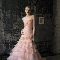 Wedding Dresses, One-Shoulder Wedding Dresses, Ruffled Wedding Dresses, Fashion, Pink Wedding Dresses