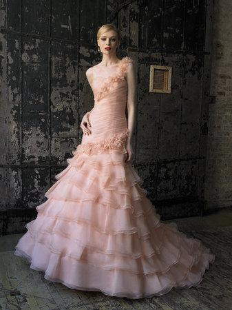 Wedding Dresses, One-Shoulder Wedding Dresses, Mermaid Wedding Dresses, Ruffled Wedding Dresses, Fashion, Pink Wedding Dresses