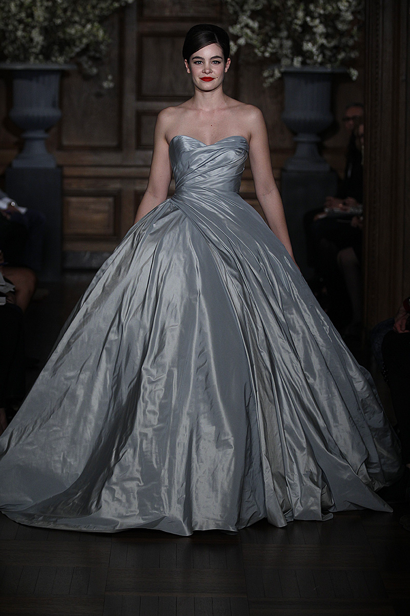 Gown by romona keveza collection spring 2014 photo by dan for Silver ball gown wedding dresses