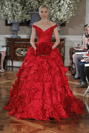 Wedding Dresses, Ball Gown Wedding Dresses, Ruffled Wedding Dresses, Fashion, red, Modern Weddings, Romona Keveza Couture