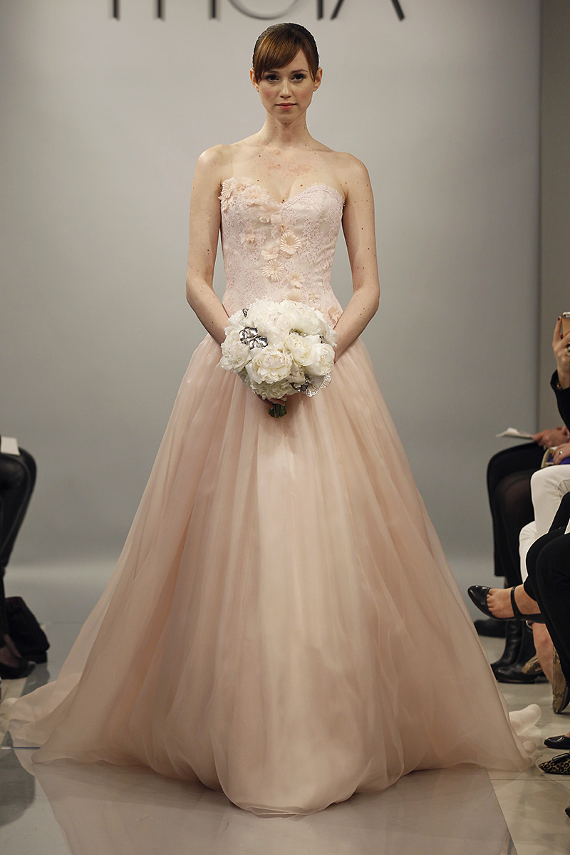 Wedding Dresses, Sweetheart Wedding Dresses, A-line Wedding Dresses, Romantic Wedding Dresses, Fashion, pink, Spring Weddings, Classic Weddings, Garden Weddings, Theia