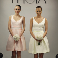 Bridesmaid Dresses, Fashion, yellow, pink, Theia, preppy weddings