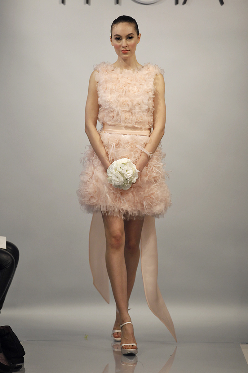 Wedding Dresses, Ruffled Wedding Dresses, Fashion, pink, Modern Weddings, Short Wedding Dresses, Theia