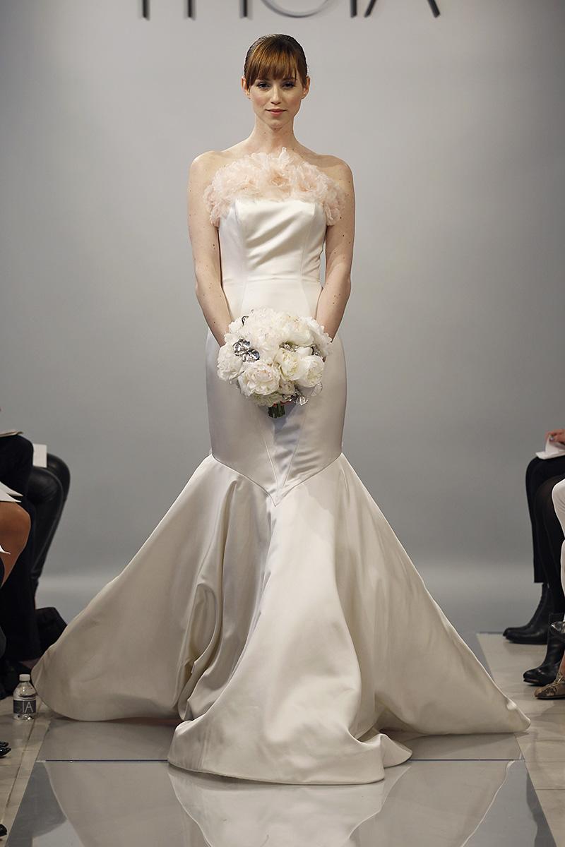 Wedding Dresses, Mermaid Wedding Dresses, Ruffled Wedding Dresses, Hollywood Glam Wedding Dresses, Fashion, pink, Glam Weddings, Modern Weddings, Theia