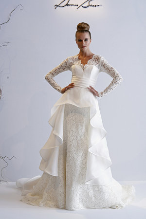 Wedding Dresses, Ruffled Wedding Dresses, Lace Wedding Dresses, Fashion, V-neck Wedding Dresses, Dennis basso, Wedding Dresses with Sleeves