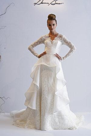 Wedding Dresses, Ruffled Wedding Dresses, Lace Wedding Dresses, Fashion, V-neck Wedding Dresses, Dennis basso, Wedding Dresses with Sleeves
