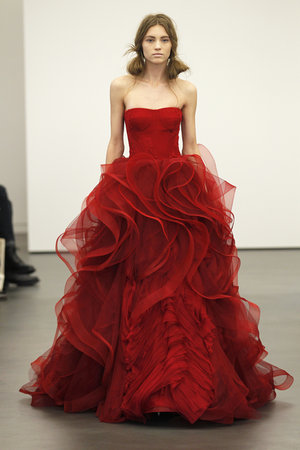Wedding Dresses, Ball Gown Wedding Dresses, Ruffled Wedding Dresses, Fashion, red, Modern Weddings, Vera wang, Modern Wedding Dresses