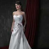 Wedding Dresses, A-line Wedding Dresses, Fashion, Strapless, Strapless Wedding Dresses, A-line, Satin, Bow, Ruching, Impression bridal, satin wedding dresses