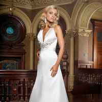 Wedding Dresses, Fashion, Beading, Halter, Satin, Impression bridal, chapel train, empire waist, halter wedding dresses, Beaded Wedding Dresses, satin wedding dresses