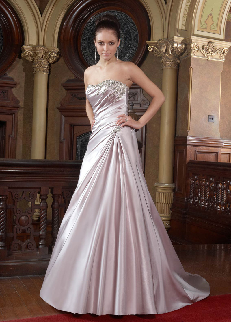 Wedding Dresses, A-line Wedding Dresses, Fashion, Strapless, Strapless Wedding Dresses, A-line, Beading, Satin, Ruching, Impression bridal, Beaded Wedding Dresses, satin wedding dresses