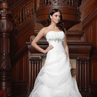 Fashion, Beading, Satin, Wedding dress, Organza, Pick-ups, Ruching, Impression bridal, chapel train, pleated bust, Beaded Wedding Dresses, organza wedding dresses, satin wedding dresses