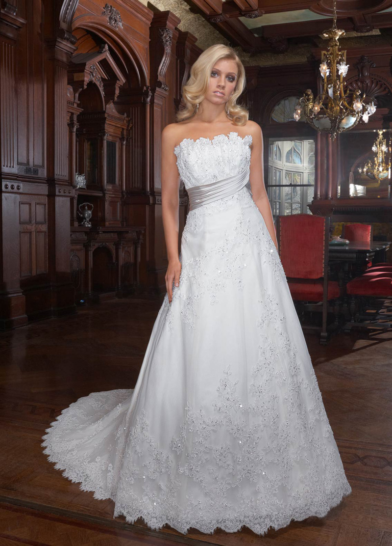 Wedding Dresses, A-line Wedding Dresses, Fashion, A-line, Beading, Sash, Impression bridal, Beaded Wedding Dresses