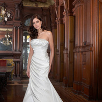 Wedding Dresses, Fashion, Beading, Satin, Pleats, Ruching, Impression bridal, chapel train, Beaded Wedding Dresses, satin wedding dresses