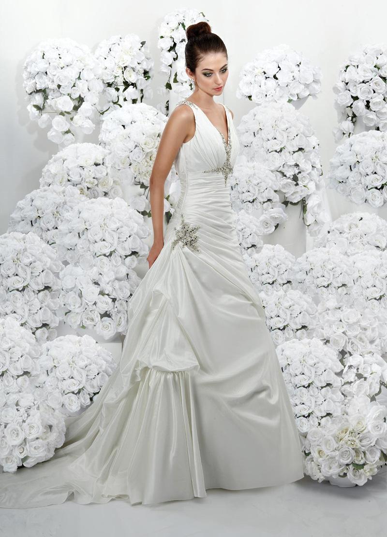 Wedding Dresses, Fashion, Beading, V-neck, V-neck Wedding Dresses, Taffeta, Pick-ups, Ruching, Impression bridal, chapel train, Beaded Wedding Dresses, taffeta wedding dresses