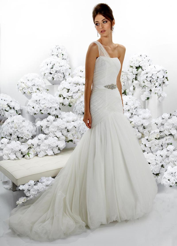 Wedding Dresses, One-Shoulder Wedding Dresses, Fashion, Beading, Tulle, Full skirt, Impression bridal, One-shoulder, drop waist, Beaded Wedding Dresses, tulle wedding dresses