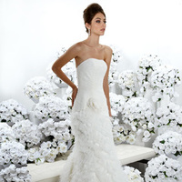 Wedding Dresses, Fashion, Flower, Strapless, Strapless Wedding Dresses, Fit and flare, Tulle, Ruching, Fringe, Impression bridal, tulle wedding dresses