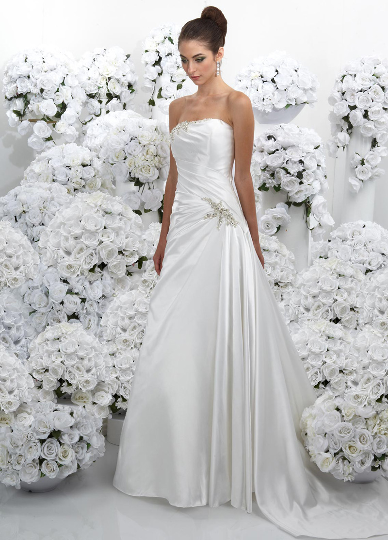 Wedding Dresses, A-line Wedding Dresses, Fashion, Strapless, Strapless Wedding Dresses, A-line, Beading, Satin, Impression bridal, chapel train, Beaded Wedding Dresses, satin wedding dresses