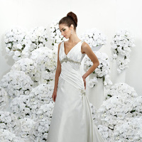 Wedding Dresses, A-line Wedding Dresses, Fashion, A-line, Beading, Empire, V-neck, V-neck Wedding Dresses, Satin, Ruching, Impression bridal, chapel train, Beaded Wedding Dresses, satin wedding dresses