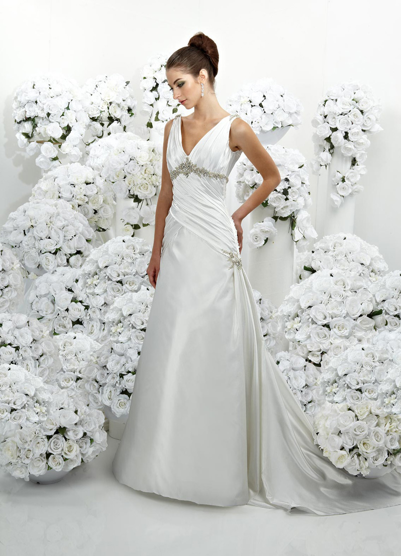 Wedding Dresses, A-line Wedding Dresses, Fashion, A-line, Beading, Empire, V-neck, V-neck Wedding Dresses, Satin, Ruching, Impression bridal, chapel train, Beaded Wedding Dresses, satin wedding dresses