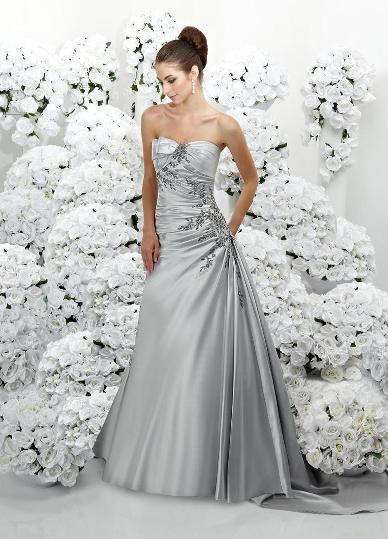 Wedding Dresses, A-line Wedding Dresses, Fashion, silver, Strapless, Strapless Wedding Dresses, A-line, Beading, Impression bridal, chapel train, pleated bodice, Beaded Wedding Dresses