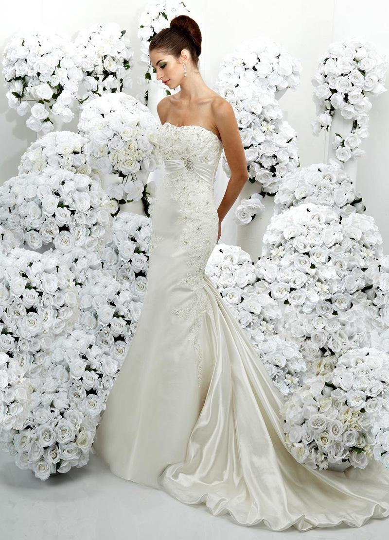 Wedding Dresses, Lace Wedding Dresses, Fashion, Mermaid, Lace, Organza, Impression bridal, empire waist, organza wedding dresses, satin band, jewel brooch