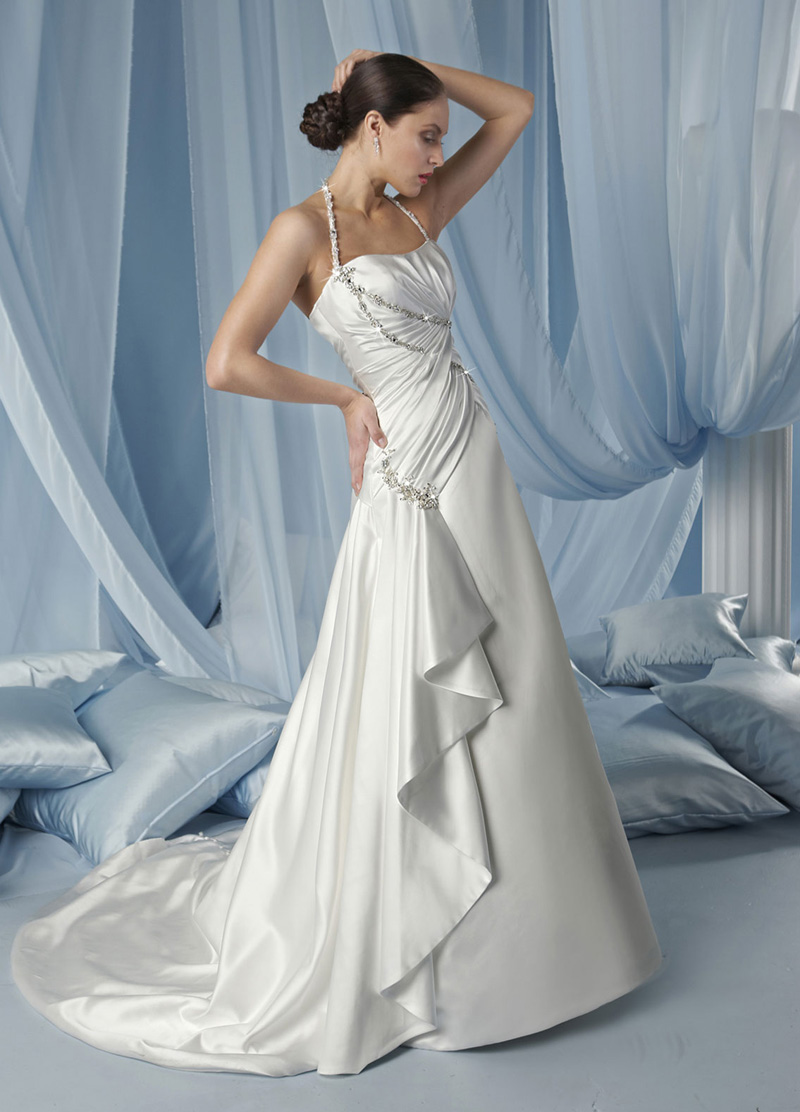 Wedding Dresses, Fashion, Beading, Halter, Satin, Pleats, Impression bridal, chapel train, halter wedding dresses, Beaded Wedding Dresses, beaded strap, satin wedding dresses