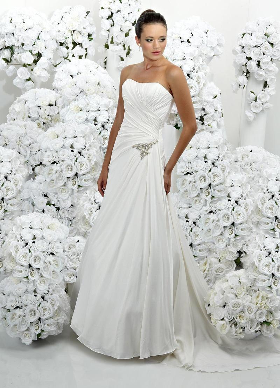 Wedding Dresses, Fashion, Strapless, Strapless Wedding Dresses, Beading, Satin, Impression bridal, chapel train, pleated bodice, Beaded Wedding Dresses, satin wedding dresses