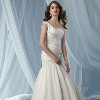 Wedding Dresses, One-Shoulder Wedding Dresses, Fashion, Fit and flare, Organza, Impression bridal, One-shoulder, dropped waist, pleated bodice, beaded lace, organza wedding dresses, bubble skirt