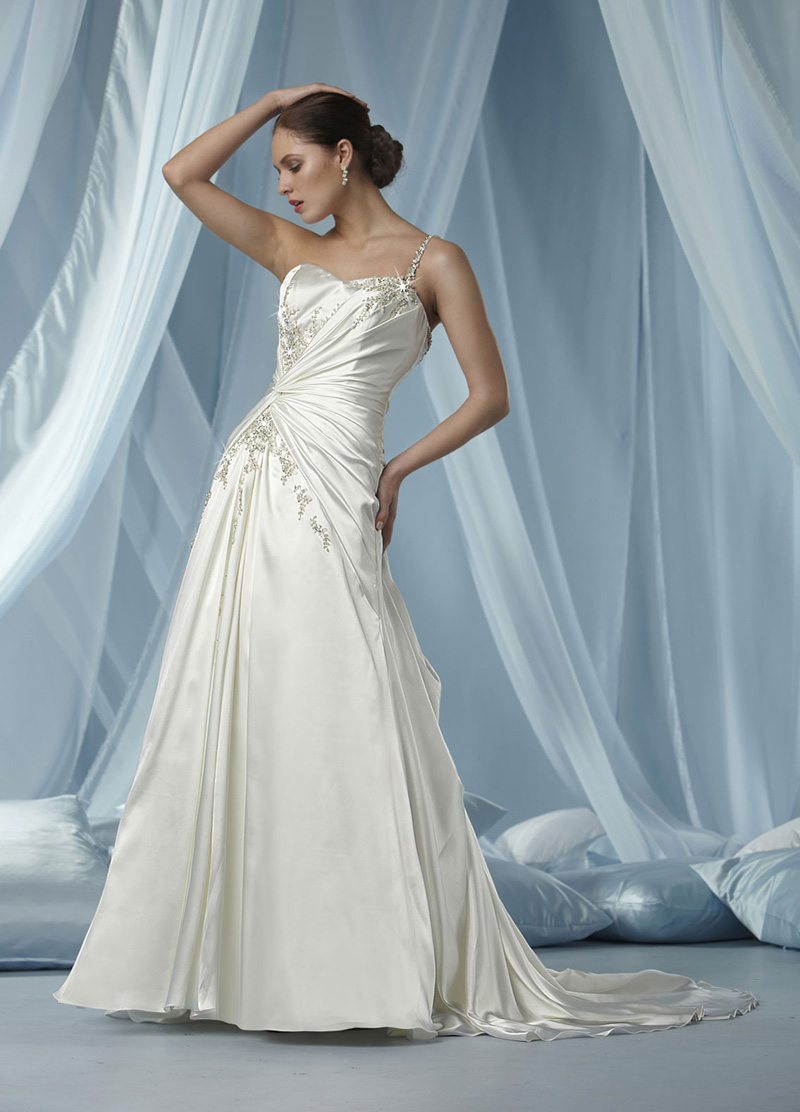 Wedding Dresses, Sweetheart Wedding Dresses, One-Shoulder Wedding Dresses, Fashion, Sweetheart, Satin, Impression bridal, One-shoulder, chapel train, beaded strap, satin wedding dresses