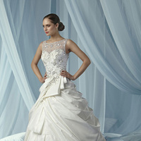 Wedding Dresses, Fashion, Beading, Embroidery, Taffeta, Impression bridal, jewel neckline, sheer neckline, Beaded Wedding Dresses, taffeta wedding dresses, bouffant overskirt