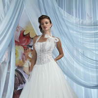 Wedding Dresses, A-line Wedding Dresses, Fashion, A-line, Halter, Corset, Tulle, Impression bridal, chapel train, halter wedding dresses, tulle wedding dresses