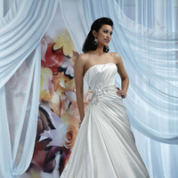 Wedding Dresses, A-line Wedding Dresses, Fashion, Strapless, Strapless Wedding Dresses, A-line, Satin, Impression bridal, chapel train, pleated bodice, beaded band, satin wedding dresses