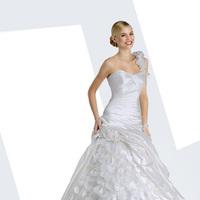 Wedding Dresses, Sweetheart Wedding Dresses, One-Shoulder Wedding Dresses, Ball Gown Wedding Dresses, Fashion, Sweetheart, Satin, Ball gown, Impression bridal, One-shoulder, chapel train, floral skirt, floral strap, satin wedding dresses