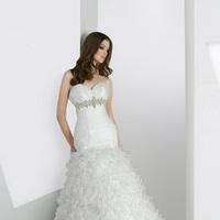 Wedding Dresses, Ruffled Wedding Dresses, Fashion, Organza, Ruffles, Beaded belt, Impression bridal, pleated bodice, tiered skirt, organza wedding dresses