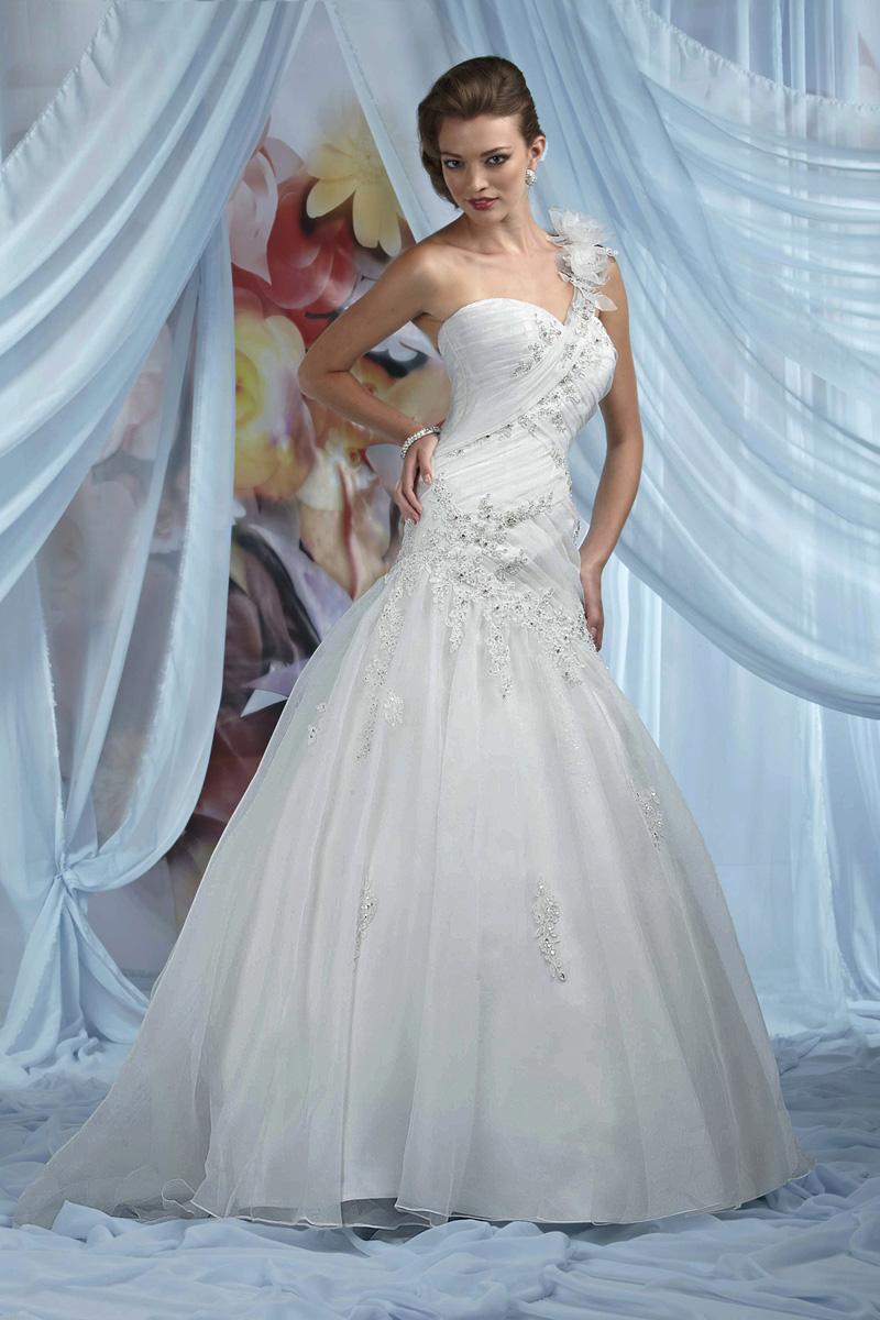 Wedding Dresses, Sweetheart Wedding Dresses, One-Shoulder Wedding Dresses, Lace Wedding Dresses, Fashion, Lace, Sweetheart, Organza, Impression bridal, One-shoulder, dropped waist, pleated bodice, organza wedding dresses