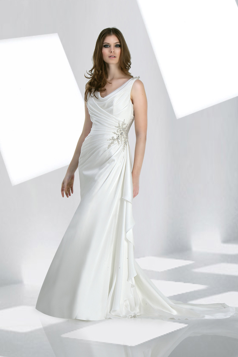 Wedding Dresses, Fashion, Sheath, Chiffon, Pleats, Impression bridal, jewel detail, jewel straps, cowl neckline, Sheath Wedding Dresses, Chiffon Wedding Dresses