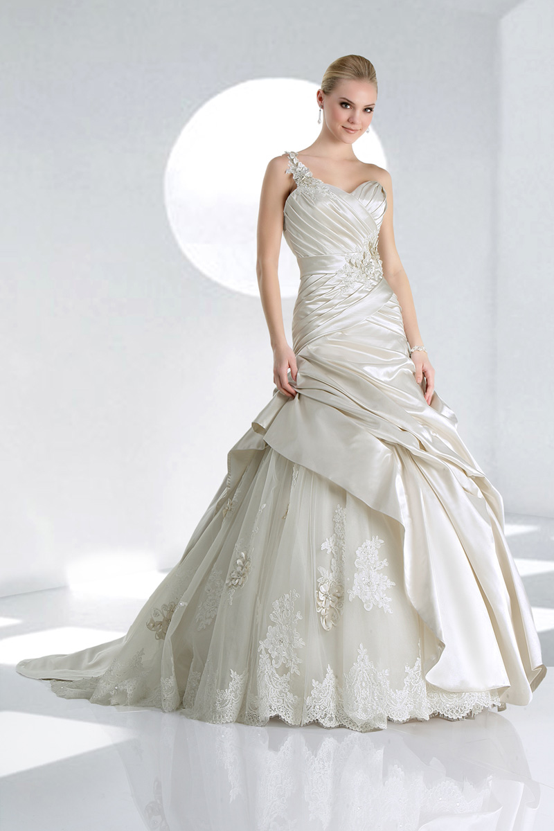 Wedding Dresses, Sweetheart, Satin, Ball gown, Impression bridal, One-shoulder, chapel train, dropped waist, pleated bodice, floral strap, fasion