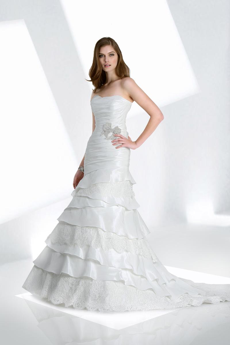 Wedding Dresses, Lace Wedding Dresses, Fashion, Lace, Strapless, Strapless Wedding Dresses, Beading, Fit and flare, Taffeta, Impression bridal, layered skirt, Beaded Wedding Dresses, taffeta wedding dresses