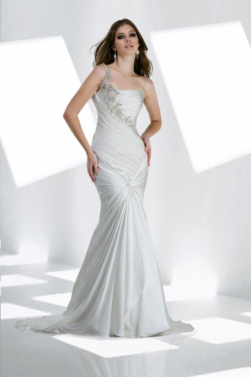 Wedding Dresses, One-Shoulder Wedding Dresses, Fashion, Beading, Chiffon, Ruching, Impression bridal, One-shoulder, Beaded Wedding Dresses, beaded strap, Chiffon Wedding Dresses